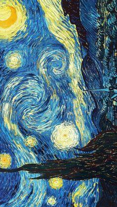 Starry Night by Vincent Van Gogh - Art Painting Van Gogh Wallpaper, Painting Wallpaper, Vincent Van Gogh, Van Gogh Tapete, Starry Night Wallpaper, Paris Poster, Van Gogh Art, Van Gogh Paintings, Famous Art
