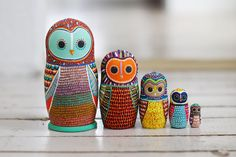 Owl Nesting Dolls / Matryoshka Russian Dolls door PeriwinkleNuthatch
