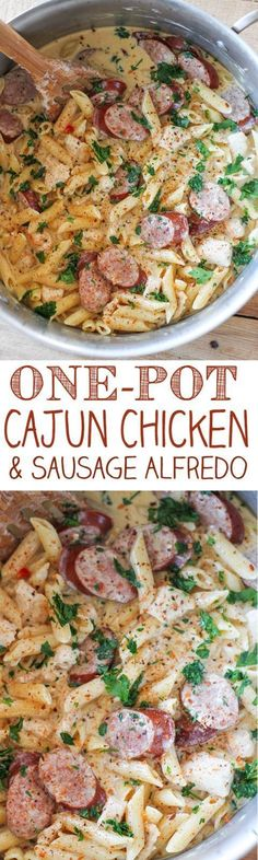 One-Pot Cajun Chicken and Sausage Alfredo Pasta Recipe   No. 2 Pencil - The Best Easy One Pot Pasta Family Dinner Recipes