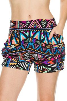 - Juniors Sizing - 95% Poly, 5% Spandex. - CHINA - These fun shorts feature a bold patterned fabric, stretch waistband, harem silhouette, and front side slit pockets. - Our Printed Harem Shorts with P