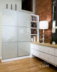 LOFT OFFICE 2: Functional and beautiful- this storage unit is sleek, requiring a small footprint while offering ample floor to ceiling storage. #candiceolson