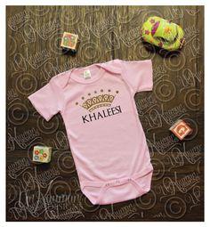 "Game of Thrones Inspired ""Khaleesi"" w/Crown - Baby Onesie - Baby Shower Gift by UnKaumanDesigns on Etsy https://www.etsy.com/listing/200052734/game-of-thrones-inspired-khaleesi-wcrown"