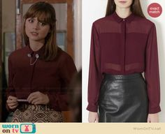 Clara's sheer burgundy blouse on Doctor Who.  Outfit Details: http://wornontv.net/37296/ #DoctorWho