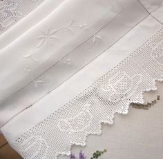 Snowy white linen and crochet lace cloth by lizzylovesvintage, $33.00