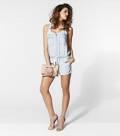 You'll fall in love with our ultra soft bleach wash denim romper!