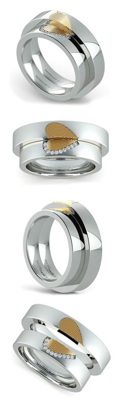 Matching Heart Fingerprint Inlay Wedding Ring Set in White and Yellow Gold. This matching wedding set includes 3.5 mm his and hers wedding bands in white gold with a 14k yellow gold fingerprint heart inlay. Ten round diamonds accent the women's band for one-tenth total weight. Proudly made in the USA. https://www.brilliance.com/wedding-rings/matching-heart-fingerprint-wedding-ring-set-white-yellow-gold #HisandHersDiamondWeddingRingSets
