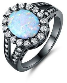 Shop for Black Rhodium Plated White Fire Opal Flower Ring. Get free delivery On EVERYTHING* Overstock - Your Online Jewelry Destination! Opal Gemstone, Gemstone Rings, Cute Jewelry, Jewelry Rings, Jewellery, Flower Jewelry, Charm Jewelry, White Opal Ring, Ring Stores
