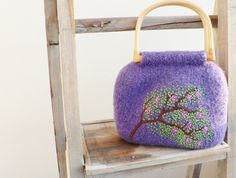 Knitted Felted Purse  Wisteria Tree Embroidery by MuffinTopKnits