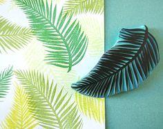 Palm-Baum Blatt, Stempel, tropischen Stempel, Hand geschnitzte, Dekor, Palm Beach, tropische Sommer