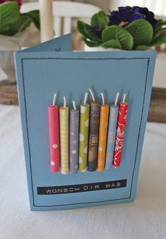 Zwischen den Papierkerzen auf der Geburtstagskarte versteckt sich ein Geldschein, mit dem sich ....... einen persönlichen Wunsch erfüllen kann. Von mamas kram - http://mamaskram.blogspot.de/2015/03/80.html
