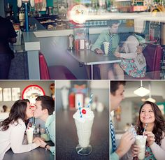 Cute diner engagement pics but with coffee:)