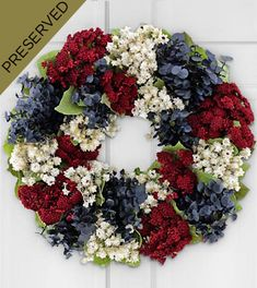 Patriotic Wreath from FTD made with dried and preserved flowers