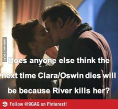 I felt very uncomfortable when she kissed him. This is cheating, mister! Unless, of couse, Moffat has already killed River and we just don't know it yet. Which he is totally capable of. Either way: Moffat!