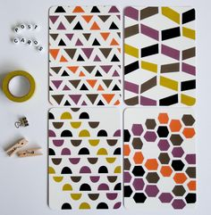 Postcards... set of 4 with rounded corners - Imperfect geometric shapes. Heedopter via Etsy.