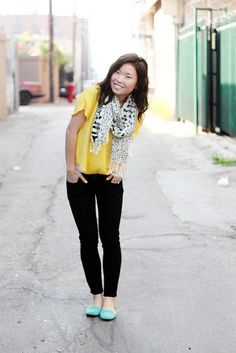 black pants + yellow + turquoise + patterned scarf