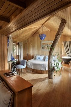 Nestled on the picturesque Atlantic coast of Morocco, La Sultana Oualidia allows guests to spend the night in a sumptuous treehouse suite complete with top-notch amenities, serene blonde wooden interiors, and scenic views of the shimmering salt water lagoon of Oualidia.