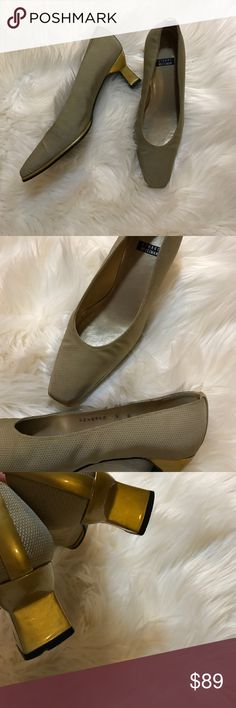 "Vintage 90s Stuart Weitzman Fabric Pumps Really elegant, fabric with a texture. Heel is 2.5"" inches tall. Yellowish-greenish color. Really well taken care of. Stuart Weitzman Shoes Heels"