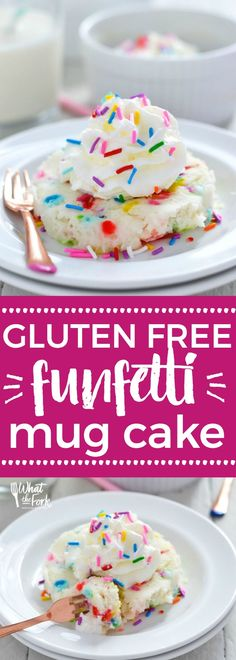 Super easy 1-minute gluten free funfetti mug cake - made with cake mix so no mixing or measuring a bunch of ingredients! Dessert recipe from @whattheforkblog | whattheforkfoodblog | gluten free desserts | how to make mug cake | cake mix mug cake | funfett