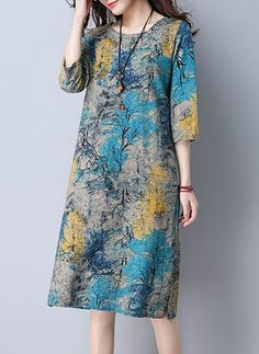 Linen Geometric 1038782/1038782 Sleeves Knee-Length Casual Dresses (1038782) @ floryday.com