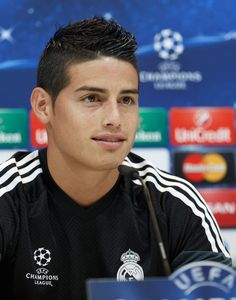 MADRID, SPAIN - SEPTEMBER 15: James Rodriguez of Real Madrid attends a press conference ahead of their UEFA Champions League Group B match against Basilea at Valdebebas training ground on September 15, 2014 in Madrid, Spain