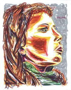 """""""Profilo rosso"""", watercolor marking pen, 140lb/300gsm - 28x35.6cm paper, 2016 author: ernesto maria giuffre' #painting #pen #art #woman #face #portrait"""