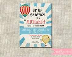 First Birthday Invitation Up Up and Away Hot Air Balloon