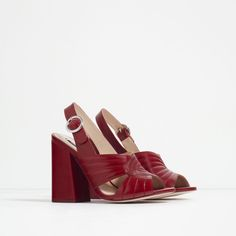 Image 2 of LEATHER HIGH HEEL SANDALS from Zara