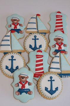 Nautical baby shower decorated cookies by Miss Biscuit - teddy bear, anchor, sailboat, and lighthouse. Summer Cookies, Fancy Cookies, Cute Cookies, Iced Cookies, Tortas Baby Shower Niña, Baby Boy Shower, Torta Baby Shower, Baby Boy Cookies, Baby Shower Cookies