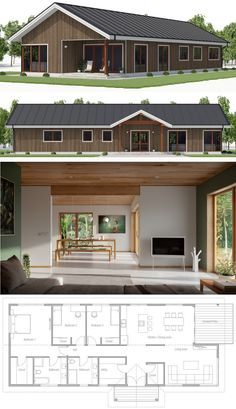 Small house plan houses in 2019 house plans, house design, New Modern House, Modern House Plans, Small House Plans, Modern House Design, New Home Designs, Cool House Designs, Dream House Plans, House Floor Plans, Modular Home Plans