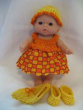 """Handmade Crocheted Clothes for 5"""" Berenguer/Itty Bitty Baby Doll 4 Piece Set"""