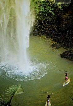 paddle paradise! so want to do this I love stand up paddle boarding! I've done it on the beach now time for the water falls!    #Paddleboardshop #paddleboard #paddleboarding