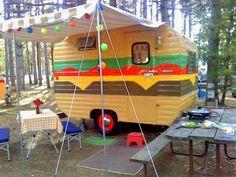 Camper that looks like food. Retro Caravan, Retro Campers, Cool Campers, Vintage Campers, Rv Campers, Teardrop Campers, Small Campers, Vintage Airstream, Gypsy Caravan