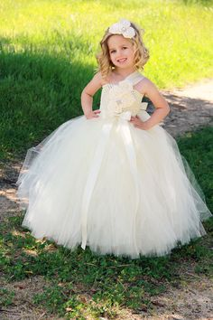 Ivory Flower Girl Dress Ivory Tutu Dress por DreamingInBlush