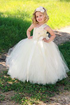Ivory Flower Girl Dress - Ivory Tutu Dress
