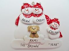 Personalized Snow Family of 3 Ornament with Tan Dog