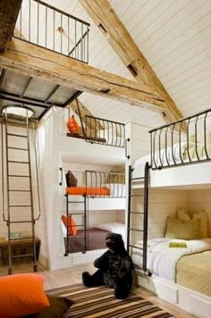 How cool to have a bunk room for relatives to come visit! include a coule queen size bunks too :-) Great bunk room - The Scarp Ridge Lodge Bunk Beds Built In, Kids Bunk Beds, Cabin Bunk Beds, Cool Bunk Beds, Unique Bunk Beds, Safe Bunk Beds, Custom Bunk Beds, Adult Bunk Beds, Sweet Home