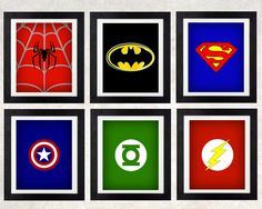 Superhero Art Printables // Superhero Decor // Boys Wall Art // Superhero Logos // Set of Six // Superhero Bedroom // Superhero Party Decor by NothingPanda on Etsy https://www.etsy.com/listing/469345630/superhero-art-printables-superhero-decor