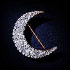 Victorian Diamond Crescent Brooch, ca. 1895Victorian Diamond Crescent Brooch…