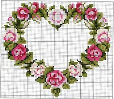 floral heart cross stitch chart