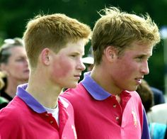 The princes wore matching shirts when they participated in an exhibition polo match in Gloucestershire, England, in July 2001.