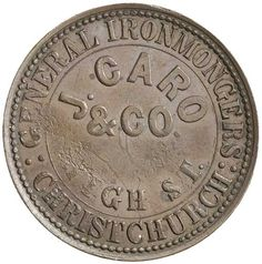 CARO, J & Co., Christchurch penny, undated (A.62), die axis at 90 degrees. Good extremely fine. / Ex Brian Bolton… / MAD on Collections - Browse and find over 10,000 categories of collectables from around the world - antiques, stamps, coins, memorabilia, art, bottles, jewellery, furniture, medals, toys and more at madoncollections.com. Free to view - Free to Register - Visit today. #Coins #Tokens #MADonCollections #MADonC