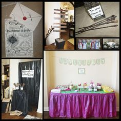 Our magical Harry Potter 11th birthday party!    Quidditch, Wands, Honeydukes, Ollivander's, Potions, Photo Booth, Monster Book of Monsters, Moaning Myrtle, Ministry of Magic, Follow the Spiders, Chamber of Secrets, Divination Class, Platform 9 3/4, child birthday, decorations  http://newberycenturychallenge.blogspot.com