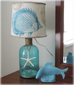 DIY Bottle Lamp - You can make a cute lamp for your home out of a bottle with this simple crafty project. I created this adorable beach inspired lamp for a clie…