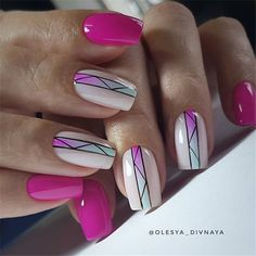 The short square nails look simple and refreshing, perfect for gradually warming weather. Simple Gel Nails, Short Gel Nails, Gel Nails French, Short Nails Art, Spring Nail Art, Nail Designs Spring, Spring Nails, Summer Nails, Square Nail Designs