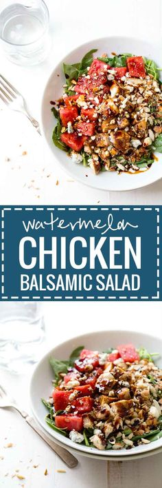 Balsamic Watermelon Chicken Salad - blue cheese, watermelon, almonds, spinach, chicken, and a balsamic reduction. Like summer on a plate! 300 calories. | pinchofyum.com