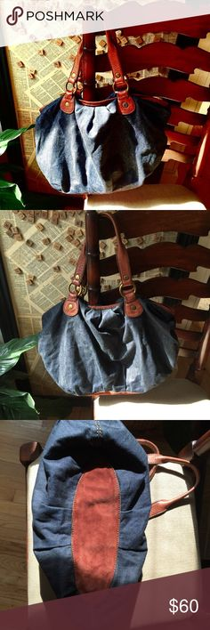 Lucky Brand Denim Bag Beautiful condition. No rips or stains. Suede bottom and leather straps. Great condition inside. Lucky Brand Bags