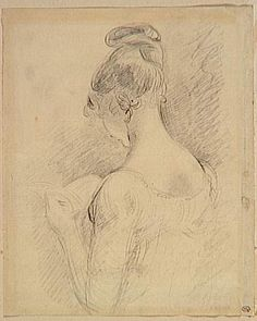 Bust of a girl, back view, reading...drawing by John Constable. In London, Vincent fell in love, but it was unrequited. The dissappointment started a sequence of self punishing acts, a run in with his parents, and the deterioration of relationships with those around him.