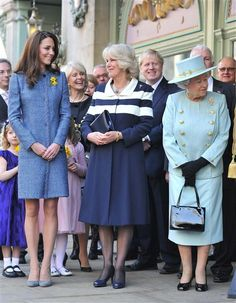 Love these three royal women together with blue dresses on...