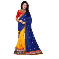 Designer Nirvana Yellow & Blue Embroidery Georgette Saree with Blouse at just Rs.1840/- on www.vendorvilla.com. Cash on Delivery, Easy Returns, Lowest Price.