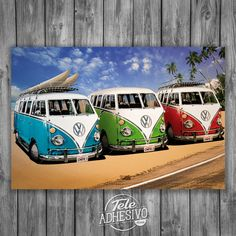 Vinilos Decorativos: Poster Adhesivo 3 furgonetas Bully #poster #volkswagen #t1 #t2 #furgoneta #hippy #vinilo #TeleAdhesivo
